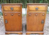 Pair Heavy Oak Bedside Cabinets